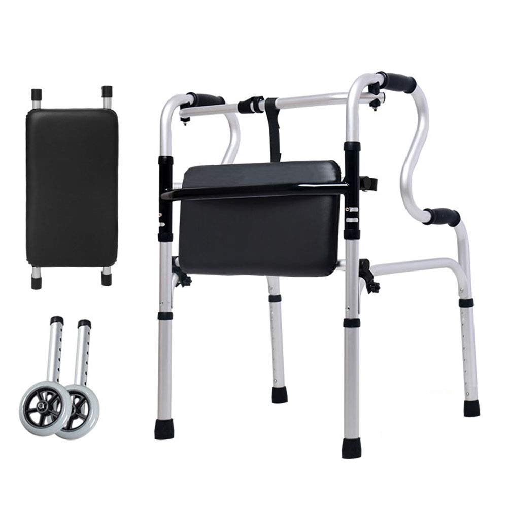 Home Hospital Canes Walker for Elderly & Disabled, Folding Height Adjustable Walking Aid with Wheel & Flip Bath Mat, Support 360lbs by HYDT