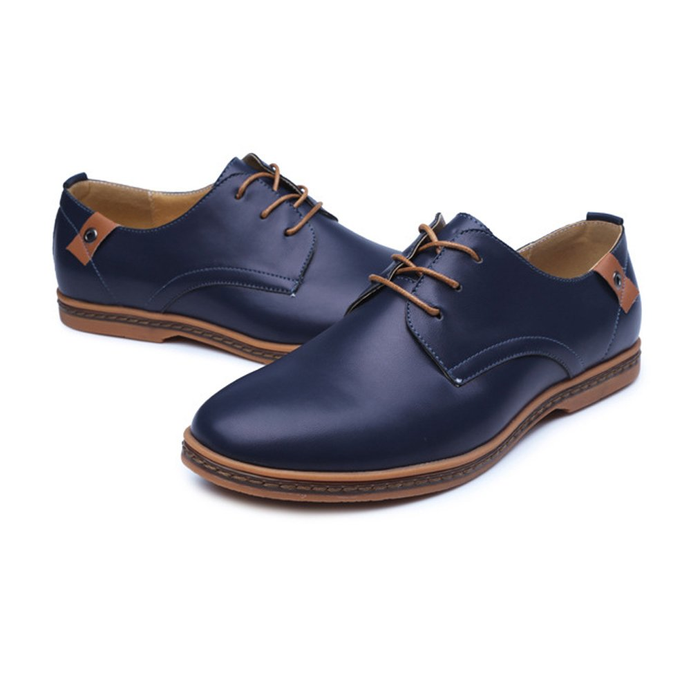 SCSY-Oxford-Schuhe Einfache Herren Große Müßiggänger PU PU PU Leder Vamp Lace Up Business Oxfords Stud Decor  dab382