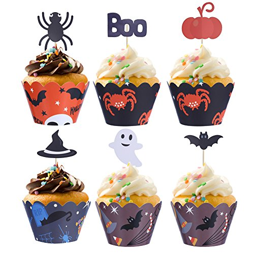 CCINEE 48pcs Paper Cupcake Wrappers with 48pcs Cupcake Toppers Halloween Themed Desserts for Halloween Party Decoration -