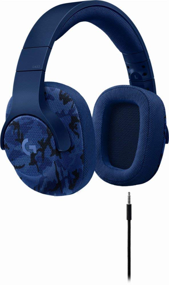 Logitech G433 7.1 Wired Gaming Headset with DTS Headphone: X 7.1 Surround for PC, PS4, Pro, Xbox One, S, Nintendo Switch - Camo Blue by Logitech G