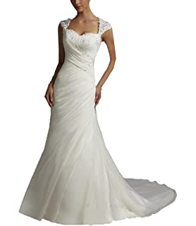 DZdress Womens High Neck Sleeveless Beading Mermaid Long Wedding Dress