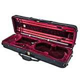 SKY 4/4 Full Size Acoustic Violin Oblong Case Lightweight with Hygrometer Black/Burgundy
