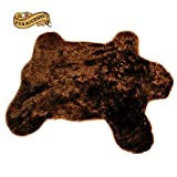 Big Bear Skin Area Throw Rug Shaggy Shag Teddy Bear Dark Coffee Brown Thick Faux Fur (5'x7')