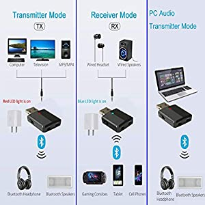 USB Bluetooth Adapter, USB Bluetooth 5.0 Audio Transmitter, Receiver,Hands-Free Calling 3-in-1,MaxLax 3.5mm USB Bluetooth Aux Adapter for Car, PC, Headphone,TV (Color: black)
