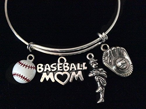 Baseball Mom Pitcher Ball and Glove Silver Expandable Charm Bracelet Adjustable Bangle Sports Team Gift
