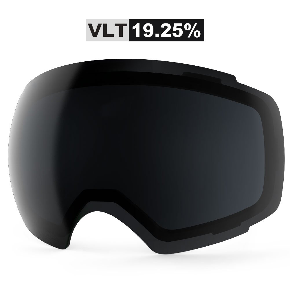ZIONOR Lagopus X4 Ski Snowboard Snow Goggles Replacement Lenses (VLT 19.25% Black Lens) by Zionor