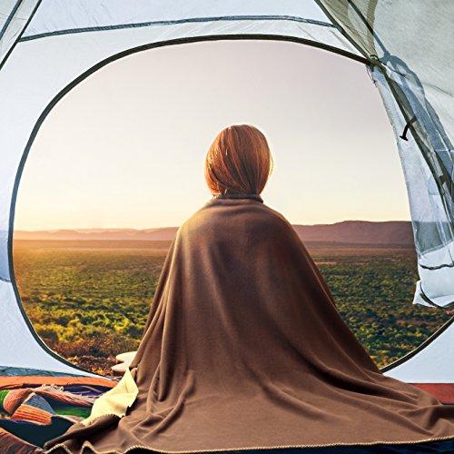 Polar Fleece Blanket Twin size 60x80 Soft Warm Brown/Camel Outdoor Camping Travel Lightweight Reversible bedding blanket by Bedsure