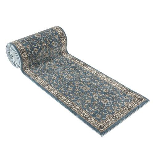 25' Stair Runner Rugs - Luxury Bergama Collection Stair Carpet Runner Nearly 1 Million Points Per Sq.Meter (Blue) (25' Runner)