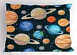 Ambesonne Galaxy Pillow Sham, Cute Galaxy Space Art Solar System Planets Mars Mercury Uranus Jupiter Venus Kids Print, Decorative Standard King Size Printed Pillowcase, 36 X 20 inches, Multi