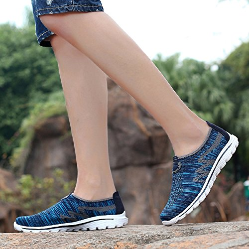 Shoes Unisex Women's Navy Casual Jogging Mastery Shoes Athletic Lightweight Sports Flats H Men's blue Gym Knit Walking Trainers Running EqFapxwO4w