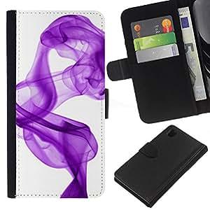 Sony Xperia Z1 / L39h / C6902 Modelo colorido cuero carpeta tirón caso cubierta piel Holster Funda protección - White Purple Ink Clean