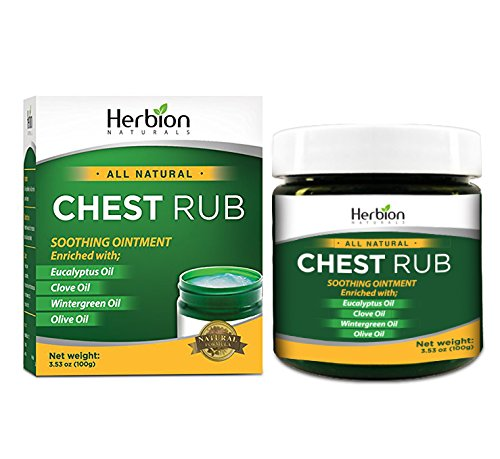 Herbion Naturals Chest Rub, 3.5 Oz with Eucalyptus, Clove, Wintergreen, Blue Gum, and Olive Oil – Clears Nasal Passages, Relieves Chest Congestion, Soothes Muscle and Joint Pain