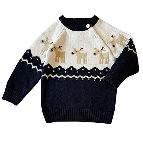 Boys Christmas Jumpers Toddler Kids Long Sleeved Deer Floral Knitted Sweater Top Shirts for 0-24Months ()