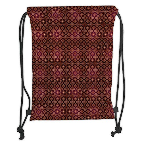 (Custom Printed Drawstring Sack Backpacks Bags,Damask,Abstract Floral Pattern with Medieval Design Ornamental Victorian Image,Orange Magenta Black Soft Satin,5 Liter Capacity,Adjustable String Closure,)