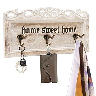 Vintage White Washed Wood Home Sweet Home Decorative Wall Mounted 3 Coat / Key Dual Hooks Organizer Rack