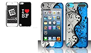 Combo pack Cellet Proguard with I Love SF for Apple iPod Touch 5th Generation And For iPod Touch 5 - Rubberized Design Cover - Blue Vines