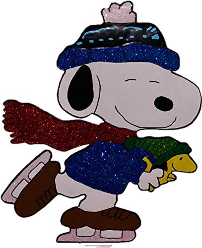 nuts Snoopy Ice Skating with Woodstock Hammered Metal Christmas Decoration ()