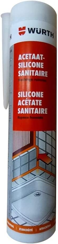 Würth–Silicona acetato para habitaciones húmedas transparente cartucho de 310ml)