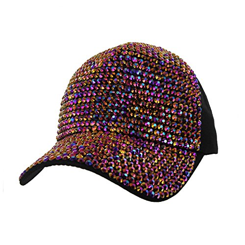 Front Fully Studded Baseball Cap with Multi Color Studs Everyday Headwear Trucker Ball Cap in Black