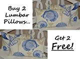 Set of 2 - Indoor / Outdoor Decorative Lumbar / Rectangle Pillows + 2 Free - Blue, Tan, Ivory Nautical / Coastal Fish, Crab, Seashells Fabric