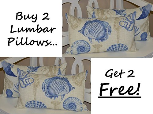 - Set of 2 - Indoor / Outdoor Decorative Lumbar / Rectangle Pillows + 2 Free - Blue, Tan, Ivory Nautical / Coastal Fish, Crab, Seashells Fabric