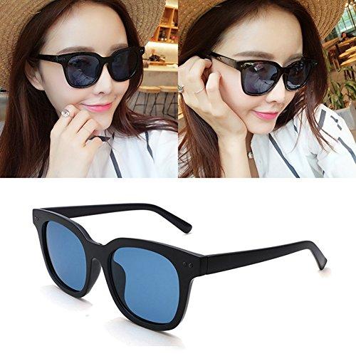 Retro Protección Color WYYY Sra Polarizada Anti Luz Marco UV de Solar Redondo Negro sol Protección Hombres Azul gafas Decoración Espejo Clásico 100 UVA wYqtRYrTA