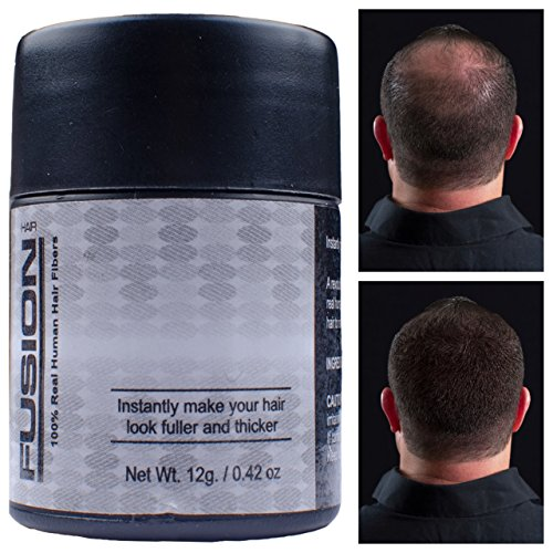 HAIR FUSION - 100% Real Human Hair Fibers - Conceal bald and thinning hair - Root touch up - Volumizer - Unisex (12g, Dark Brown)