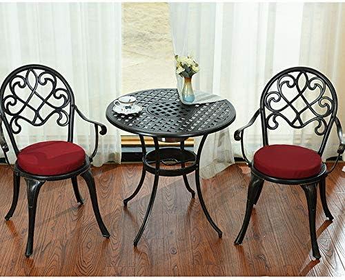 VBARV Mesa y Silla de combinación de Hierro Forjado, Juego de té de jardín para terraza de Ocio al Aire Libre, Mesa para el hogar de Tres Piezas a Prueba de Lluvia
