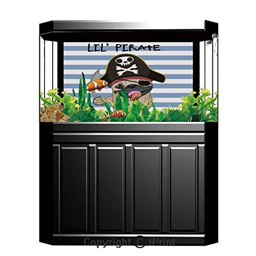 Blue Wallpaper Sticker Background Decoration,Pirate,Buccaneer Dog in Cartoon Style Costume Holding Sword Lil Pirate Striped Backdrop,Multicolor,Artistic Portrait Photo Studio Props Video Drape Wallpap]()
