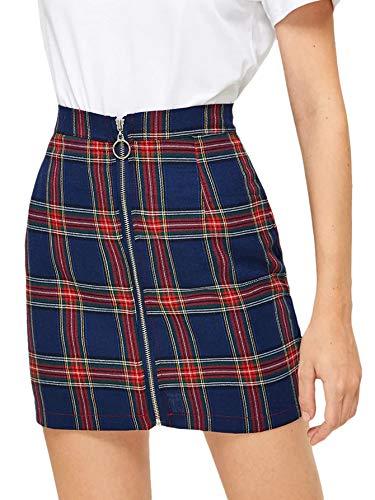 WDIRARA Women's High Waist Cotton Plaid Front Zipper Bodycon Short Skirt Multicolor L