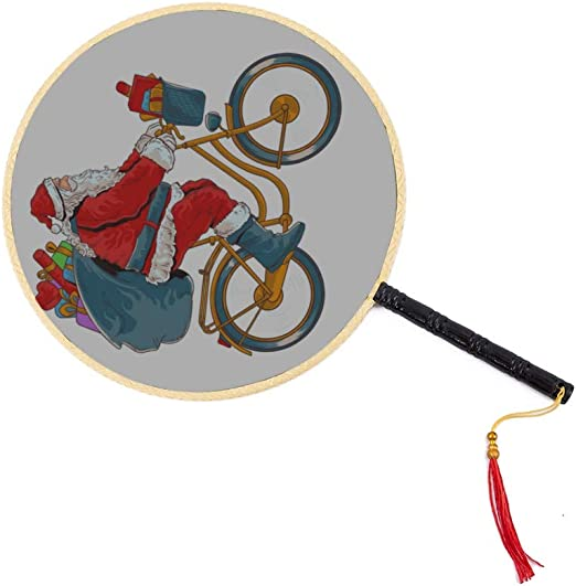 Papá Noel que monta una bicicleta Abanico chino antiguo Abanico de ...