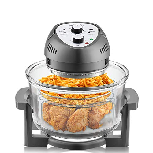 Big Boss Oil-less Air Fryer, 16 Quart, 1300W, Easy Operation with Built in Timer, Dishwasher Safe, Includes 50+ Recipe Book – Graphite