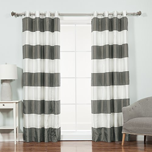 Best Home Fashion Faux Silk Rugby Stripe Blackout Curtains - Stainless Steel Nickel Grommets - Dark Grey - 52