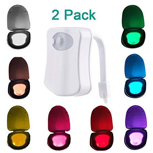 MAIKEHIGH Motion Detection Sensor Automatic Toliet LED Nightlight, Toilet Night Light Bowl Lid Bathroom Seat Hanging Battery- Operated Nightlight Lamp 8 Colors Changing.(2 Pack)