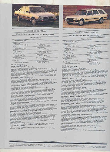 Amazon.com: 1986 Peugeot 505 Turbo STI S GL Brochure: Entertainment Collectibles