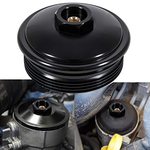 Fuel Filter Cap Black Aluminum (Secondary Fuel Filter Cap) For 2003-2007 Ford 6.0L Powerstroke Diesel F250 F350 F450 F550
