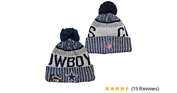 8f4b6a6be18043 Amazon.com : New Era Dallas Cowboys 2017 On-Field Side Line Knit Beanie Hat/Cap  White : Sports & Outdoors