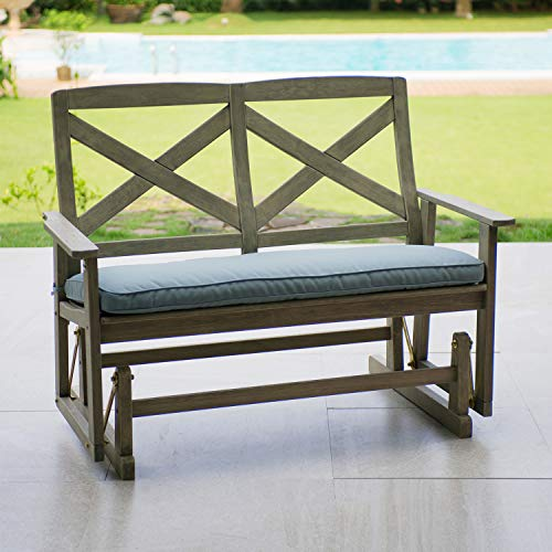 Cheap Cambridge-Casual 130825BLU West Lake 4′ Glider Bench with Seat Pad, Weathered Grey with Spruce Blue