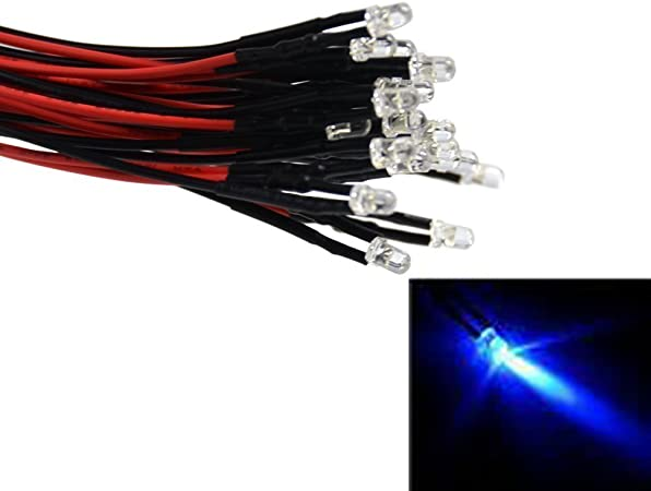 20 x 12v 5mm Flat Top Pre Wired Cool Clear White LED Wide Angle 14v 15v Prewired