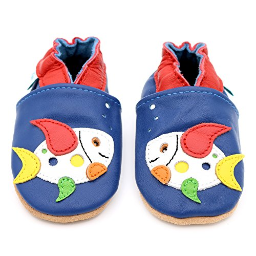 Dotty Fish weiche Leder Babyschuhe mit rutschfesten Wildledersohlen. Kleinkind Schuhe. Tier-, Transport- und Sternentwürfe für Jungen. Neugeborene bis 4-5 Jahre Blau
