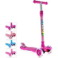 GOOGO Kick Scooter for Kids 3 Wheel Scooter for Toddler, Girls & Boys, Lean to Steer, 4 Adjustable Height, PU LED Light Up Wheels for Children 3-14 Years Old