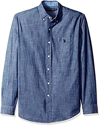 U.S. Polo Assn. Men's Long Sleeve Cotton Canvas Slub Sport Shirt, Infinity Blue, XL