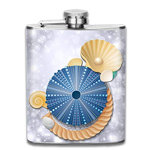 Laki-co Blue Shell and Pearl Hip Flask for Liquor Stainless Steel Bottle Alcohol 7oz -