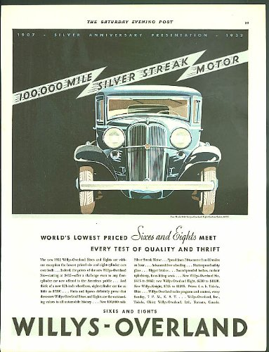 - 100,000 Mile Silver Streak Motor Willys-Overland Eight ad 1932