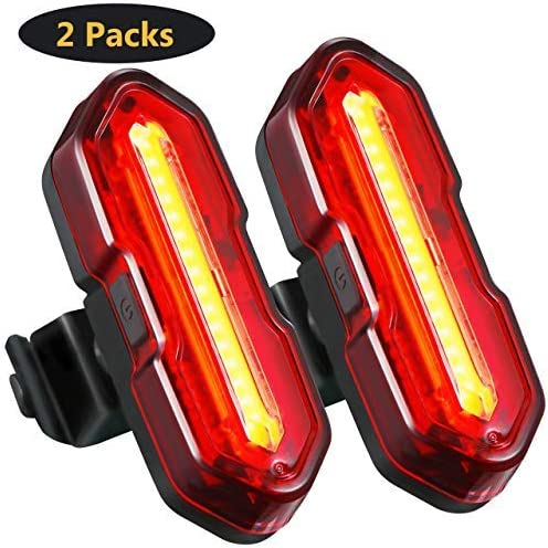 TOPELEK 2 Packs LED Bicycle Light, Bike Rear Light with 5 Light Modes, Ultra-Bright USB Rechargeable Water Resistant Bike Taillights, Fits On Any Road Bikes