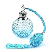 Coolrunner Crystal Art Vintage Style Refillable Perfume Atomizer Long Spray Bottle 100ml(blue)