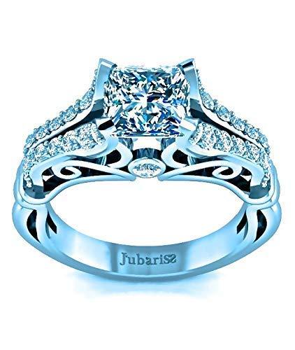 - Custom Diamond Engagement Ring Princess Cut 1.36 Ctw Floral Vine Bezel Scrolls Split Shank 14K White Gold