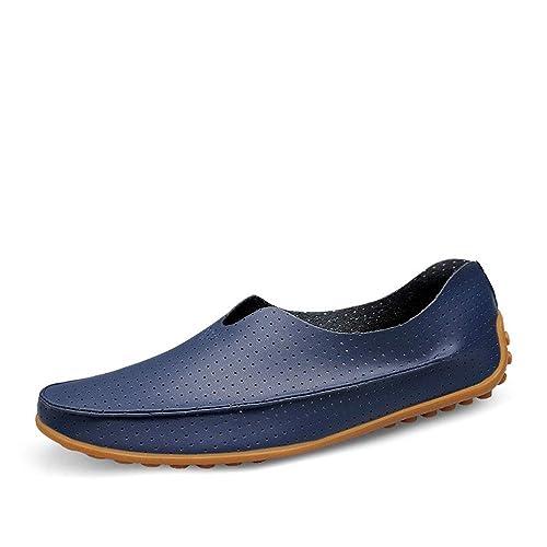 Zapatos de Cuero Transpirables Moccasin-Gommino para Hombres Mocasines con Cordones cómodos Mocasines Zapatillas de
