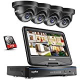 SANNCE 1080P Full HD Security Camera System with 10.1 CCTV Monitor 4CH Home Video Surveillance System, Built in 1TB Hard Drive, 2MP Indoor and Outdoor Waterproof Cameras with IR Night Vision
