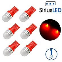 SiriusLED Super Bright 1W 360 Degree Projector LED Bulbs for Interior Car Lights Gauge Instrument Panel License Plate Dome Map Side Marker Courtesy T10 168 194 2825 W5W Red Pack of 6